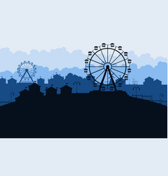 silhouette of amusement park scenery at night vector image vector image