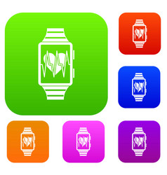 smartwatch with sport app set collection vector image vector image