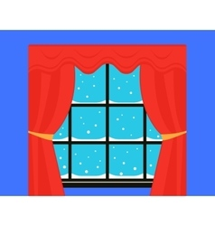 snow on winter window with red curtain vector image