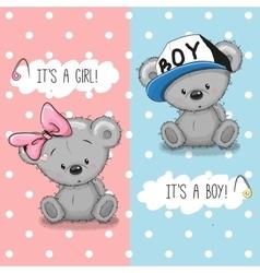 Teddy bears boy and girl vector