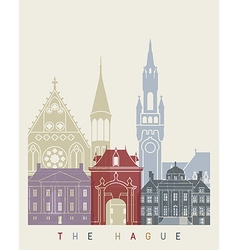 The hague skyline poster vector