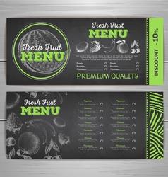 Vintage chalk drawing vegetarian food menu design vector