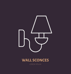 Wall sconce lamp flat line icon home lighting vector