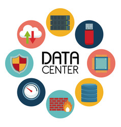 White background with text data center an icons vector
