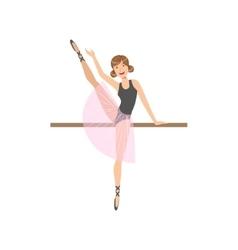 Girl doing leg swing in ballet dance class vector