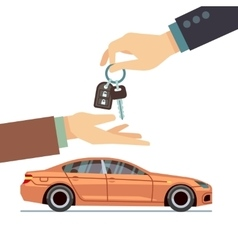 Car seller hand giving key to buyer buying or vector