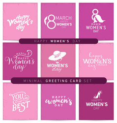 Womens day typographical minimal greeting card set vector