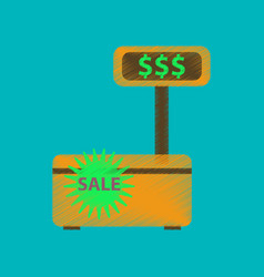 flat shading style icon cash machine sale vector image