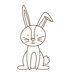 monochrome thin contour of bunny sitting vector image