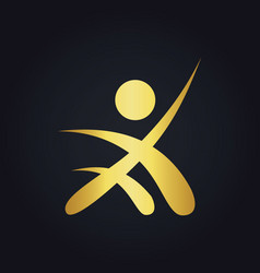 People success sport leader gold logo vector