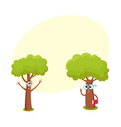 Two funny tree characters in glasses holding book vector