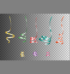 set of realistic colorful serpentein ribbons vector image