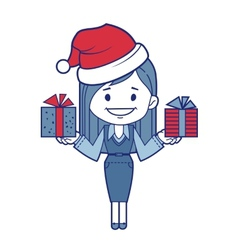 Christmas character girl with presents vector
