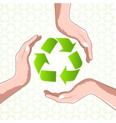 recycle icon with hands vector image
