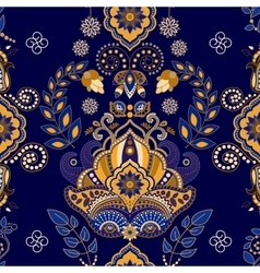 Dark blue indian seamless pattern vector