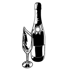 Champagne bottle and flute vector