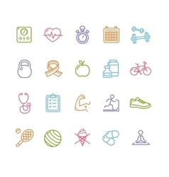 Fytness health colorful outline icon set vector