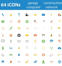 64icon garage construction computer network vector