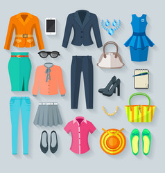Color woman clothes flat icons set vector