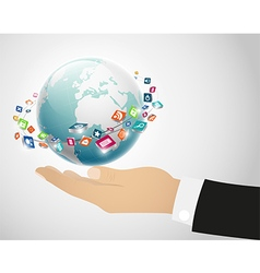 Person holding globe on the hand vector