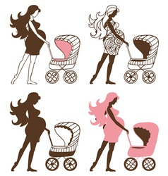 Pregnant woman with strollers vector