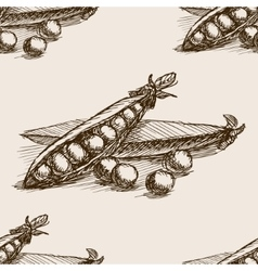 Peas hand drawn sketch seamless pattern vector