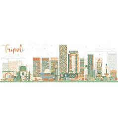 Abstract tripoli skyline with color buildings vector