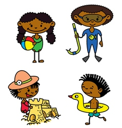 Cute summer afroamerican children vector