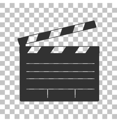 Film clap board cinema sign dark gray icon on vector