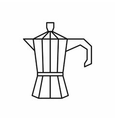 Steel retro coffee pot icon outline style vector