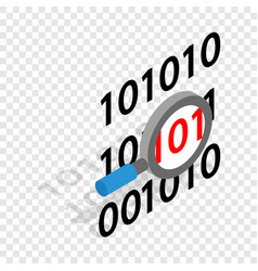 binary code and magnifying glass isometric icon vector image