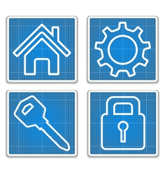 Blueprint Icons vector image
