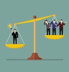 Businessman has an idea on scales vector
