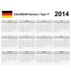Calendar 2014 German Type 17 vector image vector image