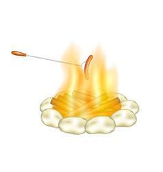 Campfire and sausage on a fork vector