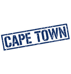 Cape town blue square stamp vector