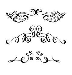 collection of hand drawn ink curls vector image vector image