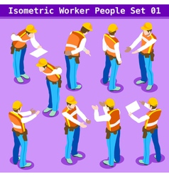 Construction 01 people isometric vector