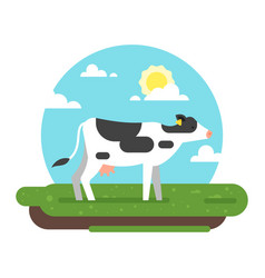 Cow graze in a field vector