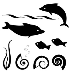 Fish silhouettes set 1 vector