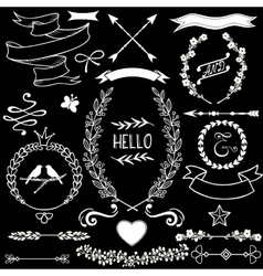 floral doodle design elements set vector image