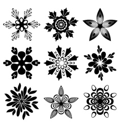 Graphic flowers set vector image