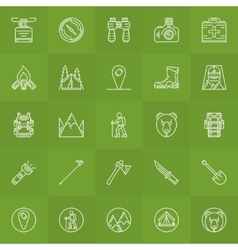 Hiking and camping icons set vector