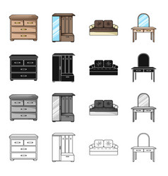 interior of the bedroom bed chest of drawers vector image