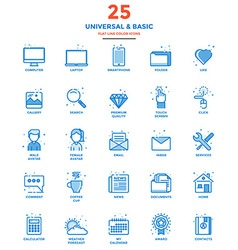 Modern Flat Line Color Icons Universal and Basic vector image