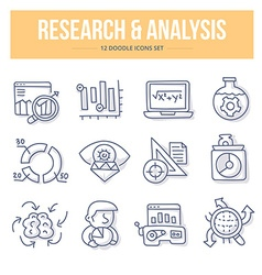 Research Analysis Doodle Icons vector image vector image