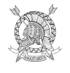 Sagittarius zodiac sign coloring book vector
