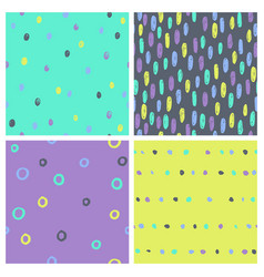Set of bright paint drops seamless patterns vector