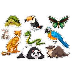 Sticker set of wild animals vector