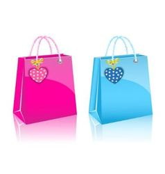 two Valentines day rore paper shopping bag vector image vector image